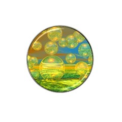 Golden Days, Abstract Yellow Azure Tranquility Golf Ball Marker 4 Pack (for Hat Clip) by DianeClancy
