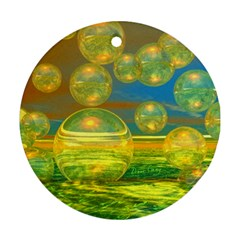 Golden Days, Abstract Yellow Azure Tranquility Round Ornament (two Sides) by DianeClancy