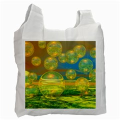 Golden Days, Abstract Yellow Azure Tranquility White Reusable Bag (two Sides) by DianeClancy