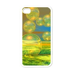 Golden Days, Abstract Yellow Azure Tranquility Apple Iphone 4 Case (white) by DianeClancy