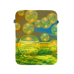 Golden Days, Abstract Yellow Azure Tranquility Apple Ipad Protective Sleeve by DianeClancy