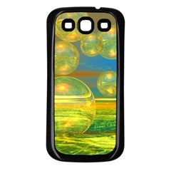 Golden Days, Abstract Yellow Azure Tranquility Samsung Galaxy S3 Back Case (black) by DianeClancy