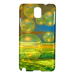 Golden Days, Abstract Yellow Azure Tranquility Samsung Galaxy Note 3 N9005 Hardshell Case by DianeClancy