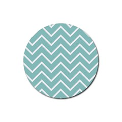 Blue And White Chevron Drink Coasters 4 Pack (round) by zenandchic