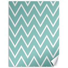 Blue And White Chevron Canvas 18  X 24  (unframed) by zenandchic