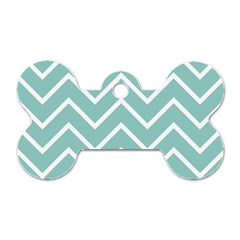 Blue And White Chevron Dog Tag Bone (one Sided) by zenandchic