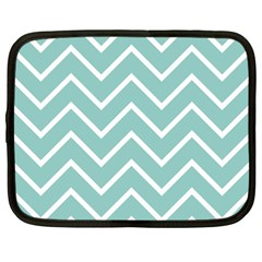 Blue And White Chevron Netbook Sleeve (large) by zenandchic