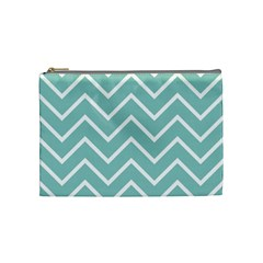 Blue And White Chevron Cosmetic Bag (medium)
