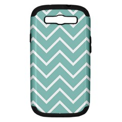 Blue And White Chevron Samsung Galaxy S Iii Hardshell Case (pc+silicone)