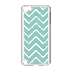 Blue And White Chevron Apple Ipod Touch 5 Case (white) by zenandchic
