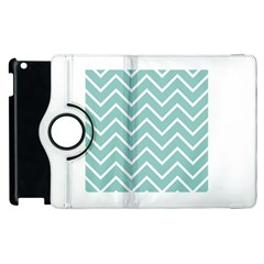 Blue And White Chevron Apple Ipad 2 Flip 360 Case by zenandchic