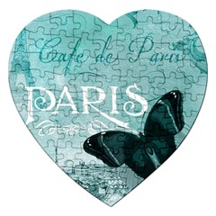 Paris Butterfly Jigsaw Puzzle (heart) by zenandchic