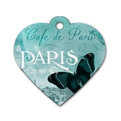 Paris Butterfly Dog Tag Heart (two Sided) by zenandchic