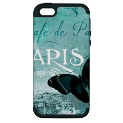 Paris Butterfly Apple Iphone 5 Hardshell Case (pc+silicone) by zenandchic