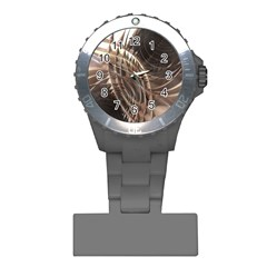Copper Metallic Texture Abstract Plastic Nurses Watch by CrypticFragmentsDesign
