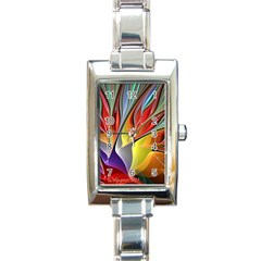 Fractal Bird Of Paradise Rectangle Italian Charm Watch by WolfepawFractals