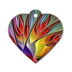 Fractal Bird Of Paradise Dog Tag Heart (one Side) by WolfepawFractals