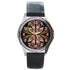 Rainbow Elliptic Splits Round Leather Watch (silver Rim) by WolfepawFractals