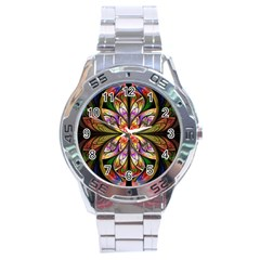 Rainbow Elliptic Splits Stainless Steel Watch by WolfepawFractals