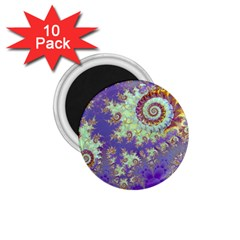 Sea Shell Spiral, Abstract Violet Cyan Stars 1 75  Button Magnet (10 Pack) by DianeClancy
