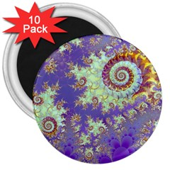 Sea Shell Spiral, Abstract Violet Cyan Stars 3  Button Magnet (10 Pack) by DianeClancy