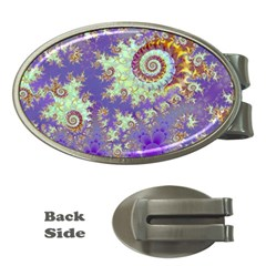 Sea Shell Spiral, Abstract Violet Cyan Stars Money Clip (oval)