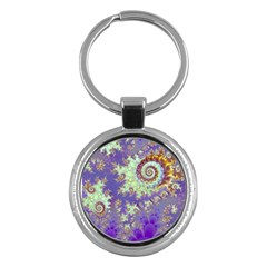Sea Shell Spiral, Abstract Violet Cyan Stars Key Chain (round) by DianeClancy
