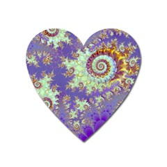 Sea Shell Spiral, Abstract Violet Cyan Stars Magnet (heart) by DianeClancy