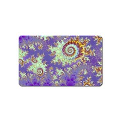 Sea Shell Spiral, Abstract Violet Cyan Stars Magnet (name Card) by DianeClancy