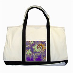 Sea Shell Spiral, Abstract Violet Cyan Stars Two Toned Tote Bag by DianeClancy