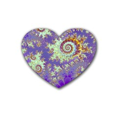 Sea Shell Spiral, Abstract Violet Cyan Stars Drink Coasters 4 Pack (heart)  by DianeClancy