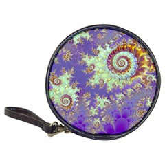 Sea Shell Spiral, Abstract Violet Cyan Stars CD Wallet by DianeClancy