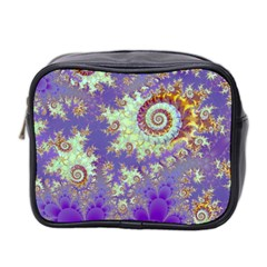 Sea Shell Spiral, Abstract Violet Cyan Stars Mini Travel Toiletry Bag (two Sides) by DianeClancy
