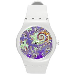 Sea Shell Spiral, Abstract Violet Cyan Stars Plastic Sport Watch (medium) by DianeClancy