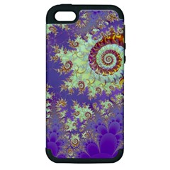 Sea Shell Spiral, Abstract Violet Cyan Stars Apple Iphone 5 Hardshell Case (pc+silicone) by DianeClancy