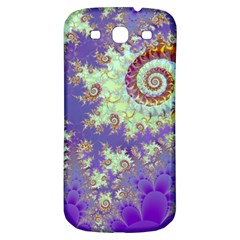 Sea Shell Spiral, Abstract Violet Cyan Stars Samsung Galaxy S3 S Iii Classic Hardshell Back Case by DianeClancy