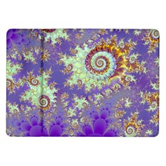 Sea Shell Spiral, Abstract Violet Cyan Stars Samsung Galaxy Tab 10 1  P7500 Flip Case by DianeClancy