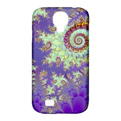 Sea Shell Spiral, Abstract Violet Cyan Stars Samsung Galaxy S4 Classic Hardshell Case (pc+silicone) by DianeClancy