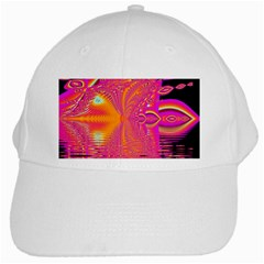 Magenta Boardwalk Carnival, Abstract Ocean Shimmer White Baseball Cap by DianeClancy
