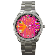 Magenta Boardwalk Carnival, Abstract Ocean Shimmer Sport Metal Watch by DianeClancy