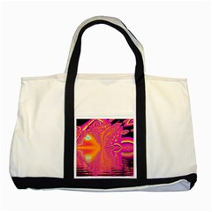 Magenta Boardwalk Carnival, Abstract Ocean Shimmer Two Toned Tote Bag by DianeClancy