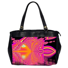 Magenta Boardwalk Carnival, Abstract Ocean Shimmer Oversize Office Handbag (two Sides) by DianeClancy