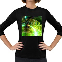 Dawn Of Time, Abstract Lime & Gold Emerge Women s Long Sleeve T Shirt (dark Colored) by DianeClancy
