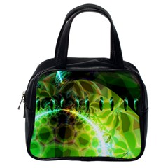 Dawn Of Time, Abstract Lime & Gold Emerge Classic Handbag (one Side) by DianeClancy