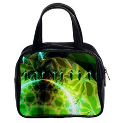 Dawn Of Time, Abstract Lime & Gold Emerge Classic Handbag (two Sides) by DianeClancy