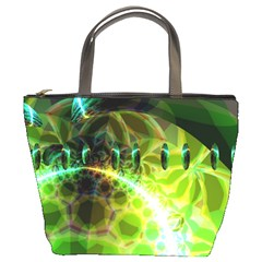 Dawn Of Time, Abstract Lime & Gold Emerge Bucket Handbag by DianeClancy