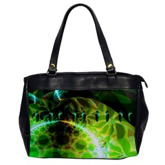 Dawn Of Time, Abstract Lime & Gold Emerge Oversize Office Handbag (one Side) by DianeClancy