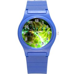 Dawn Of Time, Abstract Lime & Gold Emerge Plastic Sport Watch (small) by DianeClancy