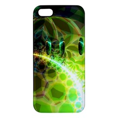 Dawn Of Time, Abstract Lime & Gold Emerge Apple Iphone 5 Premium Hardshell Case by DianeClancy