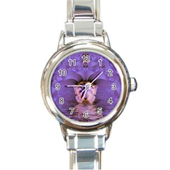 Artsy Purple Awareness Butterfly Round Italian Charm Watch by FunWithFibro